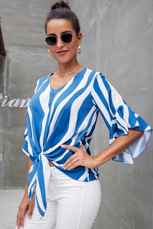Lucinda Women's Stripes V Neck 3/4 Bell Sleeve Front Tie Blouse Top Black