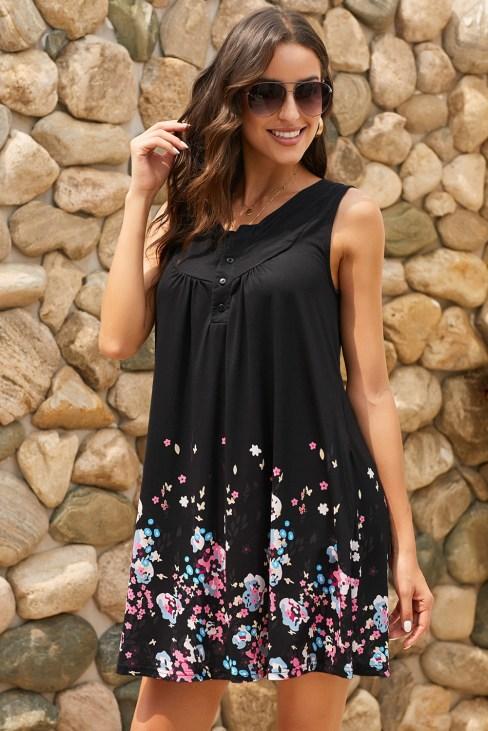 Loeffler Women's Crew Neck Sleeveless Beach Floral Dress Black