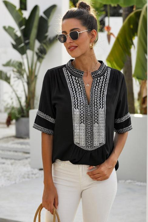 Milan Women Long Sleeve Boho Embroidered Shirt Tunic Tops Casual Blouses Black