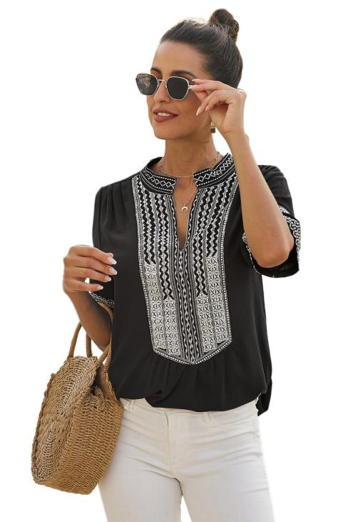 Milan Women Long Sleeve Boho Embroidered Shirt Tunic Tops Casual Blouses Black