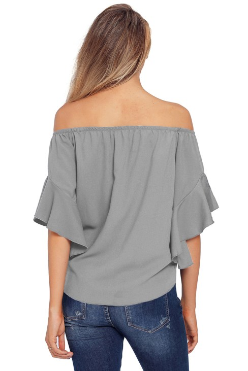 Hayden Women's 3/4 Bell Sleeve Off The Shoulder Front Tie Knot Tops Blouse White