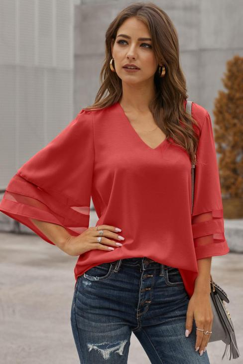 Zahara Sexy V Neck Flare Sleeve Loose Blouse Red
