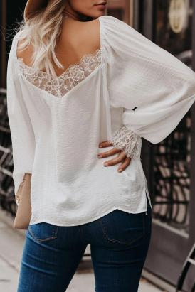 Tiana Women's V-Neck Long Sleeve Casual Loose Satin Lace Blouse White