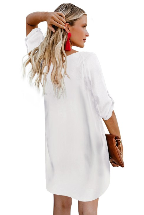 Tocca Women's V Neck Button Front 3/4 Roll up Sleeve Dress White