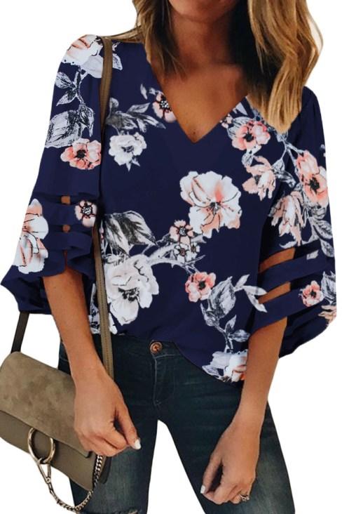 Emeline Women's V Neck Blouse 3/4 Bell Sleeve Loose Top Shirt White