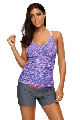 Annette Women's Printed Stripes Strappy Racerback Tankini Swim Top Purple