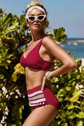 Aria Women's Pom Pom Two Pieces High Waist Bikini Set Red