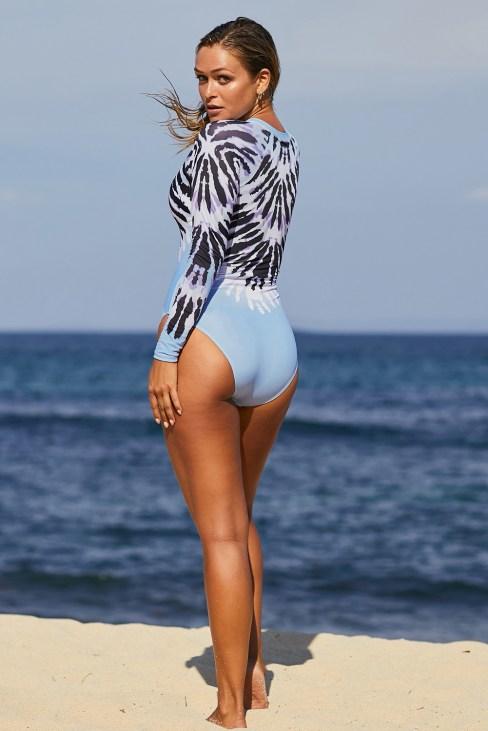 Becca Women's Zip Front Rash Guard Long Sleeve Swimsuit Sky Blue