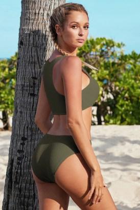 Glenna Hollow-out Bust Crop Tank Bikini Swimwear Solid Green