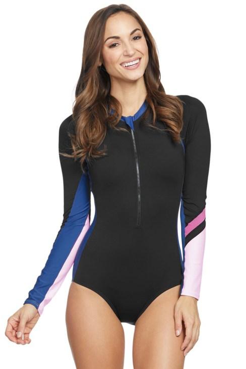 Rowen Women's Long Sleeve Zip Front Rashguard Swimsuit Blue