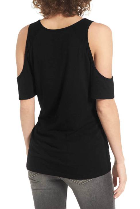 Tonya Women's Summer Short Sleeve Cold Shoulder Tee Black
