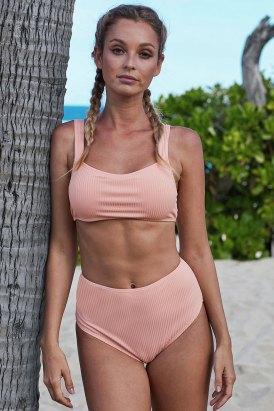 Lumi Ribbed Knit Sports Bra High-waisted Bikini Swimsuit Set Black
