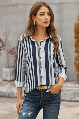 Nadia Women's V-Neck Long Sleeves White Navy Striped Shirt