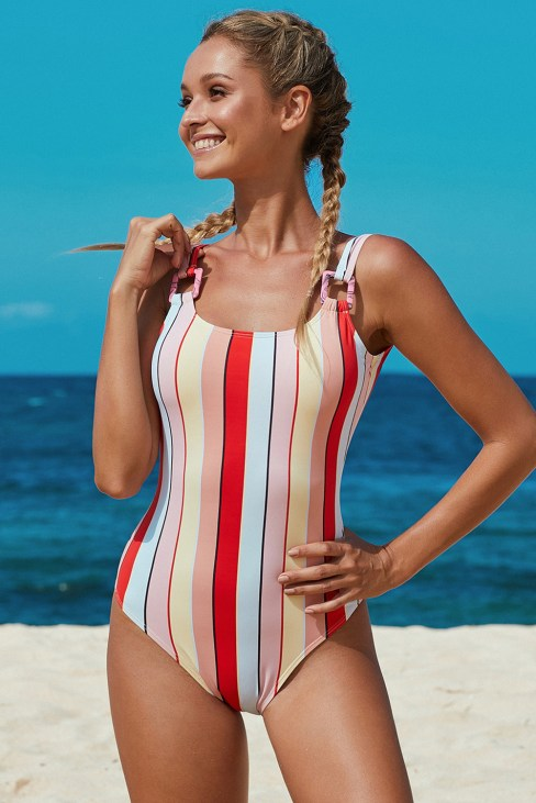 Joelle Stripes Open Back One Piece Bathing Suits Multicolor