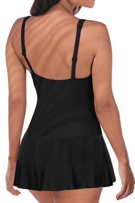 Vanna Womens Vintage Tummy Control Push up One Piece Swimdress Black