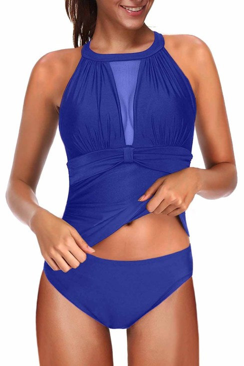 Olivia Women's Tankini Set Swimsuit High Neck Plunge Mesh Ruched Blue