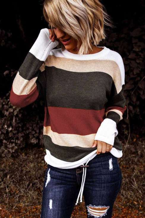 Keira Women's Red Color-block Knit Sweater