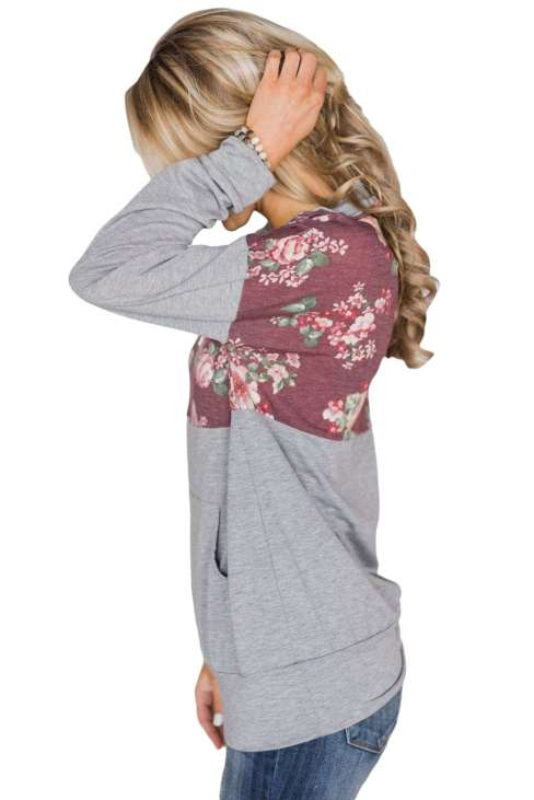 Alizeh Women's Camo Splice Black Kangaroo Pocket Zip Collar Sweatshirt