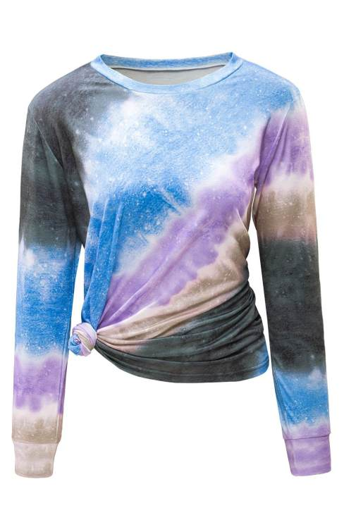 Cady Women's Ombre Red Tie-dye Cowl Neck Long Sleeve Top