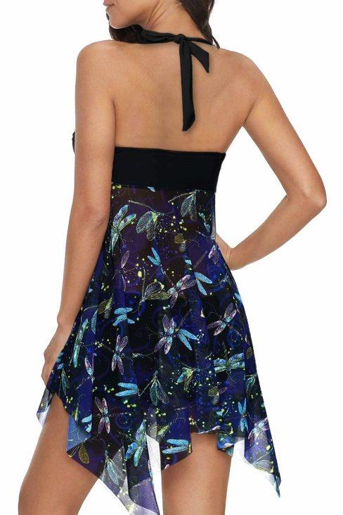 Adriana Women Handkerchief Hem Detail Swimdress and Shorts Black