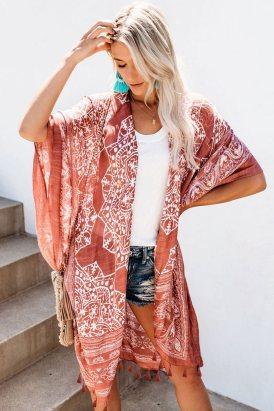 Carey Women's Anja Tassel Kimono Brown