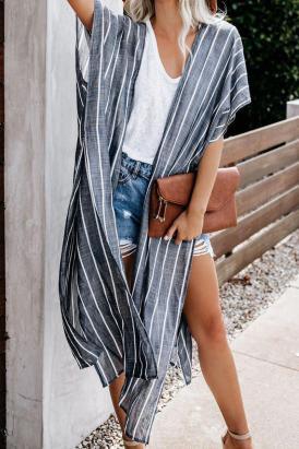 Dahlia Womens Striped Kimono Blue