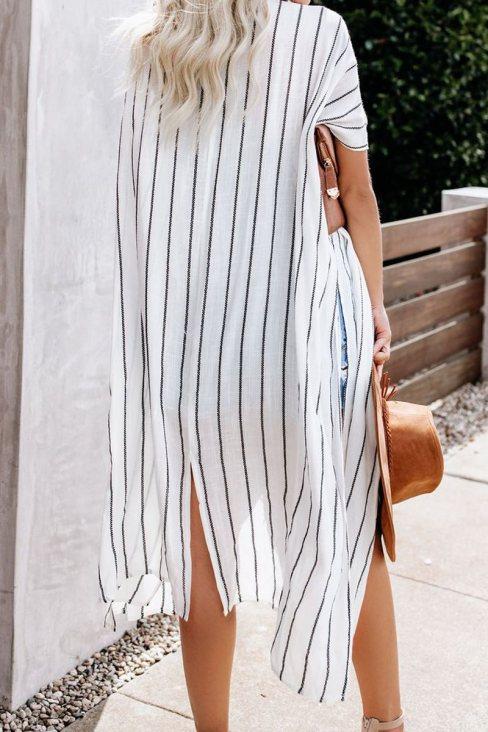 Dahlia Womens Striped Kimono White