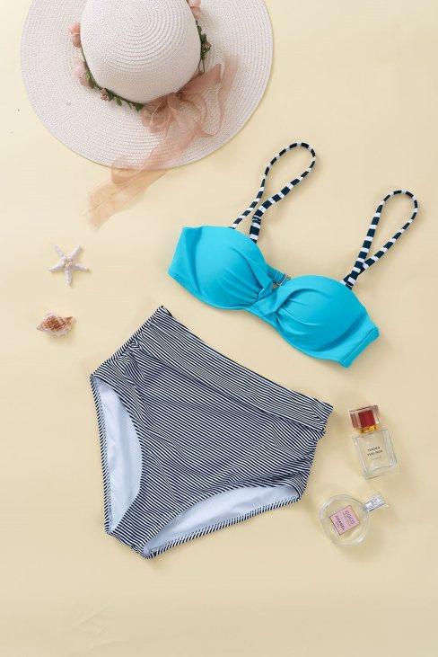 Elena Women's Sky Blue Sexy Push Up High-waisted Bikini