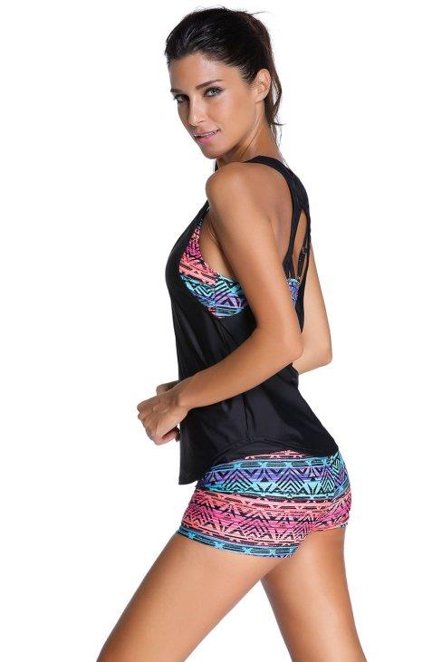 Emeline Womens Multicolor Sports Bra Tankini Swimsuit with Black Vest
