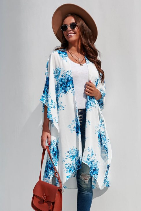 Irene Women Floral Kimono Sleeves Chiffon Loose Beach Cover Up Blue