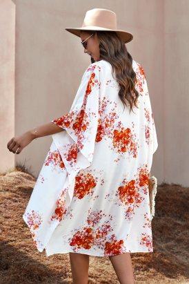 Irene Women Floral Kimono Sleeves Chiffon Loose Beach Cover Up Orange