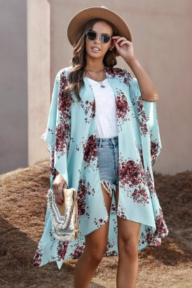 Irene Women Floral Kimono Sleeves Chiffon Loose Beach Cover Up Sky Blue