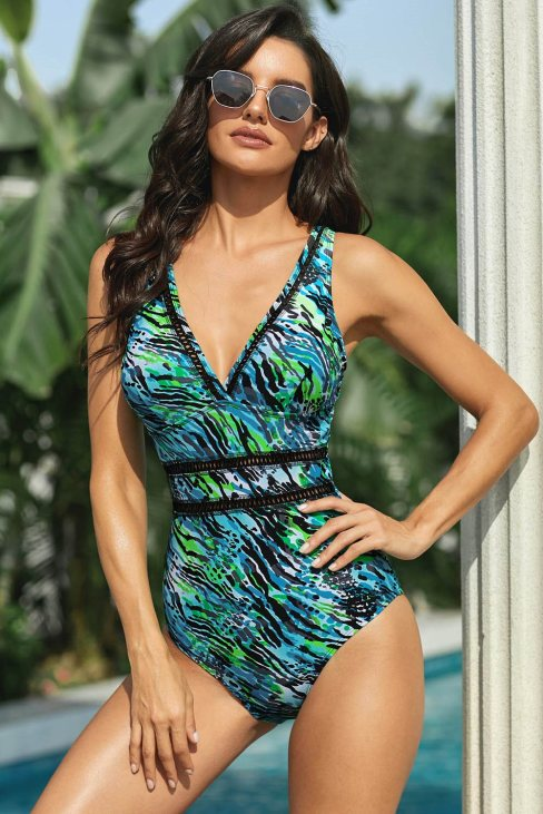 Janet Womens Green Tie Dye Print Lattice Plunge One Piece Swimsuit