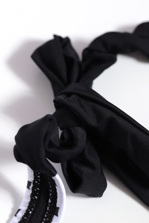 Michelle Women's Print Halterneck Tankini Set Black White Dot