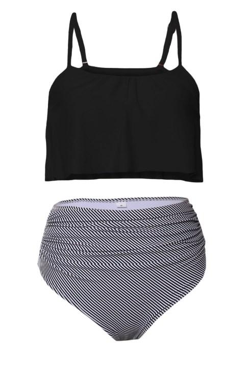 Queenie Women's Black Top and Striped Bottom High Waist Swimwear