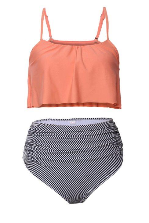 Queenie Women's Glowing Top and Striped Bottom High Waist Swimwear Pink