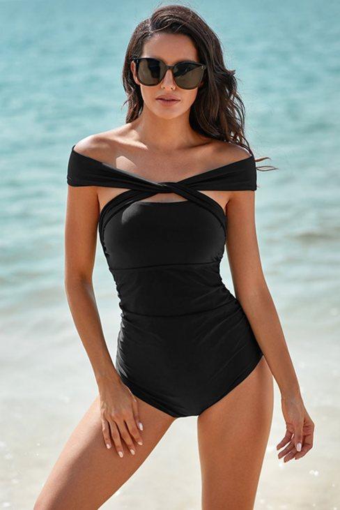 Calla Women's Criss Cross Off Shoulder Ruched One-piece Swimwear Black
