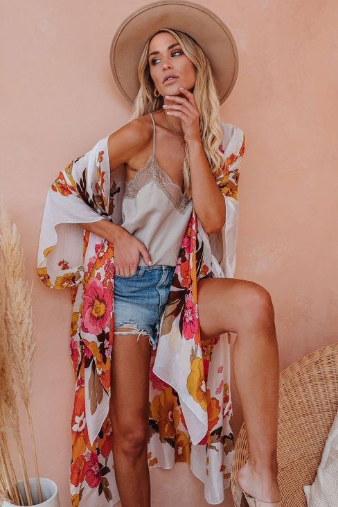 Judy Womens Kimono Sleeve Floral Print Graceful Cover Up