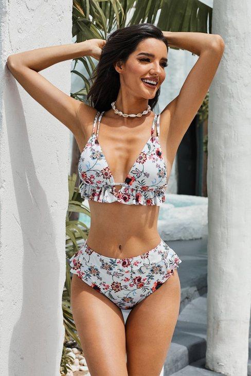Karan Women White Floral Print Ruffles High-waisted Bikini Set