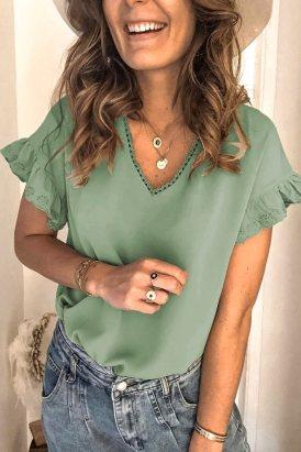 Alice Women V Neck Ruffle Short Sleeve T-shirt Green