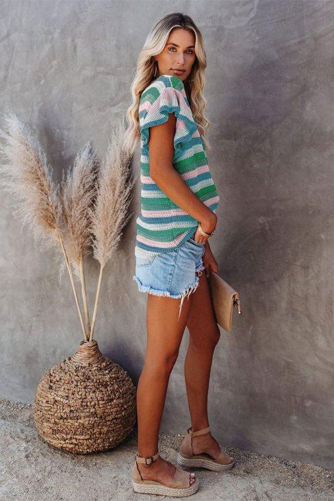 Anna Women Striped Ruffle Short Sleeve Knit Top Green