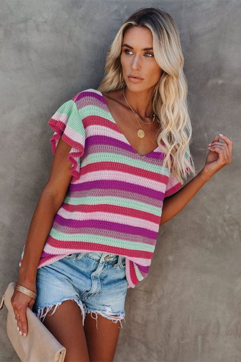 Anna Women Striped Ruffle Short Sleeve Knit Top Pink