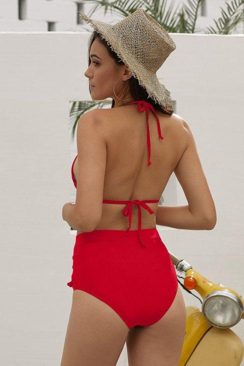 Cady Women's Mesh Striped High Waist Bikini Set Tassel Straps Swimsuit Red