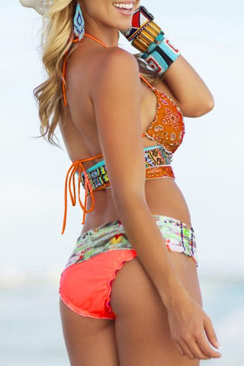 Nina Women Orange Bohemian Tropical Print Bikini