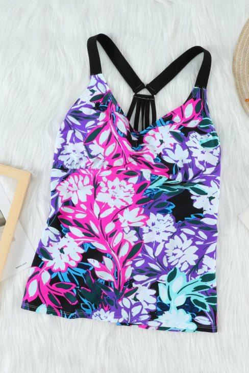 Reese Women Floral Printed Strappy Racerback Tankini Swim Top Purple