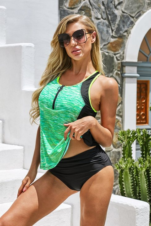 Rosa Womens Tie-dye Colorblock Tankini Green