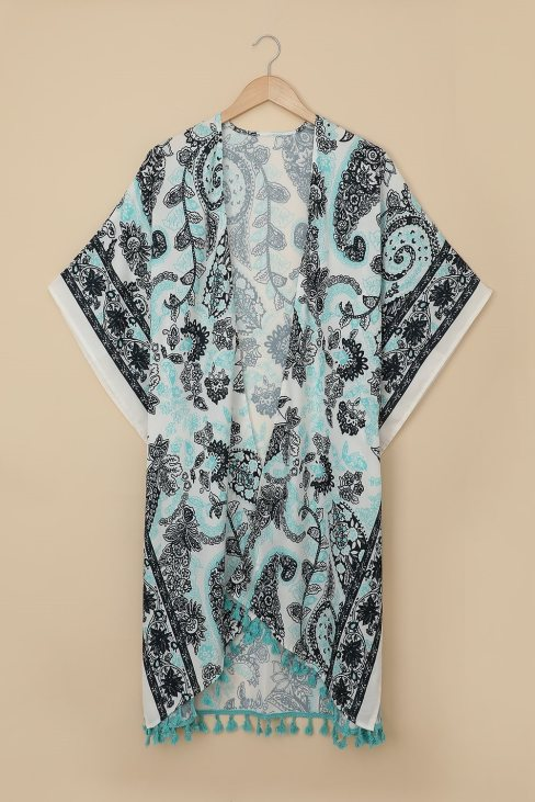 Sally Women Boho Paisley Print Kimono Beach Cover up with Tassel Beige