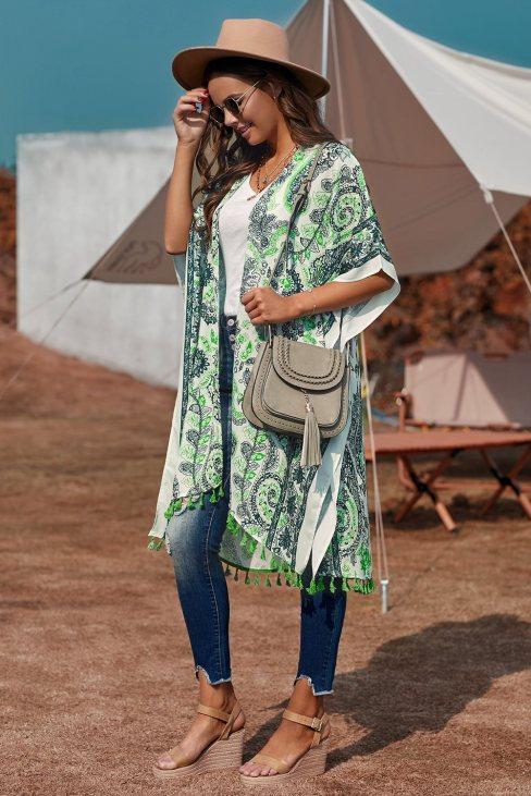 Sally Women Boho Paisley Print Kimono Beach Cover up with Tassel Green
