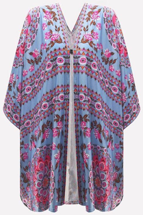 Shirley Women's Floral Kimono Cardigan Open Front Cover Up Sky Blue