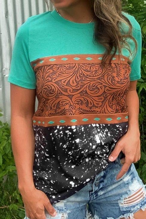 Tiffany Women's Print Buckstitch Splicing Color Block T-shirt Green Marble